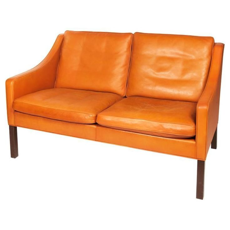 Børge Mogensen, Orange Leather Two-Seat Sofa, 1960s