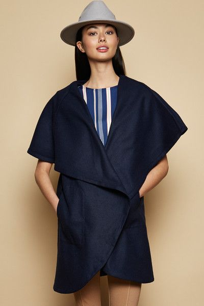 PS The Label - Avalanche Shawl Vest In Navy