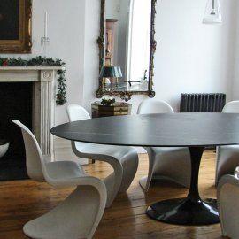 Tavolo Tulip E. Saarinen diam. 120 cm Nero laminato fluido