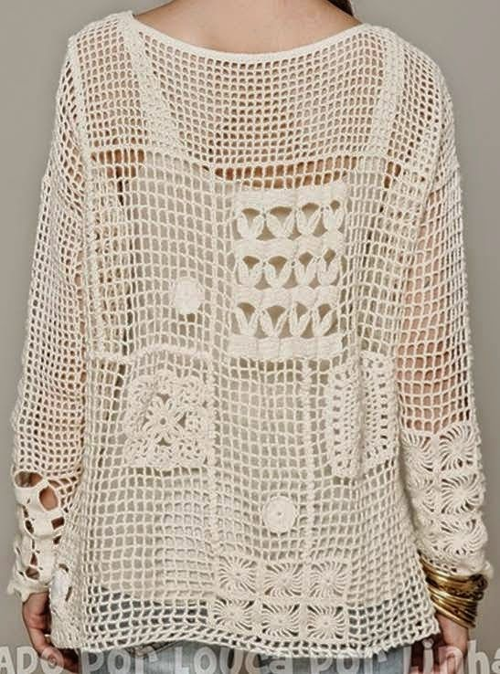 Crochet patterns: Crochet Free Form Patchwork Inspired Free People Fall Pullover - Charts and Instructions