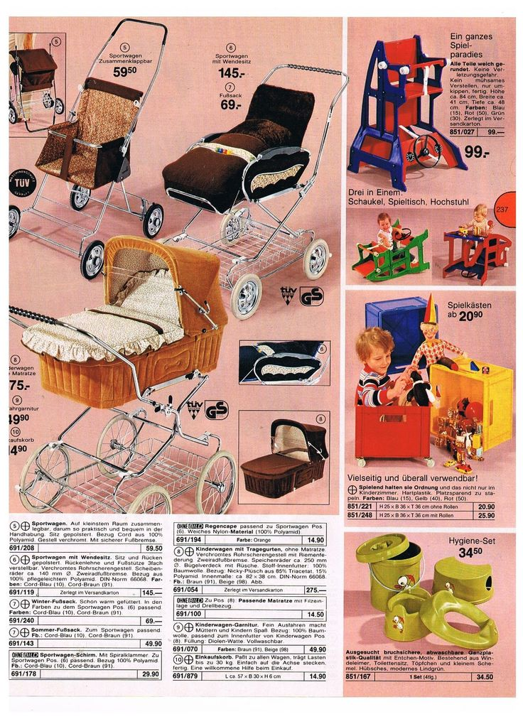 Vintage prams from 1979 German catalogue