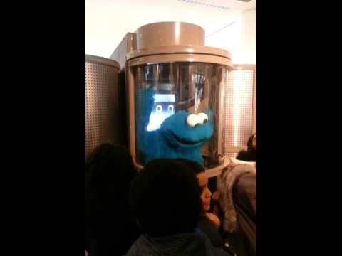 "Cookie Monster stopped by for a visit to the EcoTarium and enjoyed the Hurricane Simulator in the ""Arctic Next Door: Mount Washington"" exhibit."