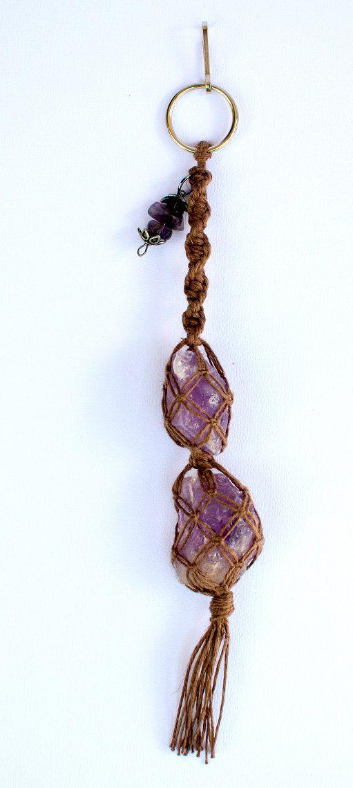Healing Amethyst Gemstone Keychain by JleeGypsy, $16.00