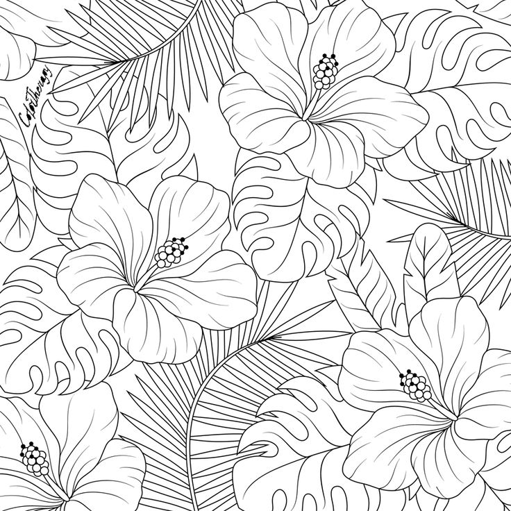 flower leaves coloring pages - photo#34