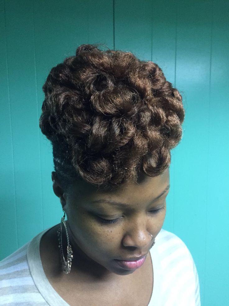 Marley hair curly pinned updo Crochet Hair style with Marley hair ...