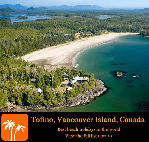 Just a short ferry trip from Vancouver, the eighth largest city in Canada, is the small town of Tofino notable for its perfect, and I mean perfect beach. The beach is long and sandy and surrounded by towering cedar trees. Eagles fly overhead and whales swim freely not too far from the shore. You can kayak, surf, fish or just lie on the beach and breathe in the sharp, clean sea air. If you explore enough you may even get a small slice of all this to yourself