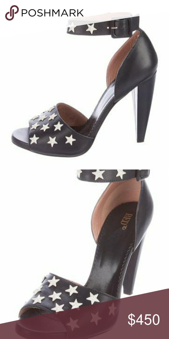 """EUC RED VALENTINO STAR STUDDED PEEP TOE SANDALS Gorgeous!  Like new. Red Valentino star studded pumps Peep toe with ankle straps Worn twice Come with dust bag Currently still selling for $750 Dark, dark blue. Hard to tell from pics 4.25"""" heel RED Valentino Shoes Heels"""