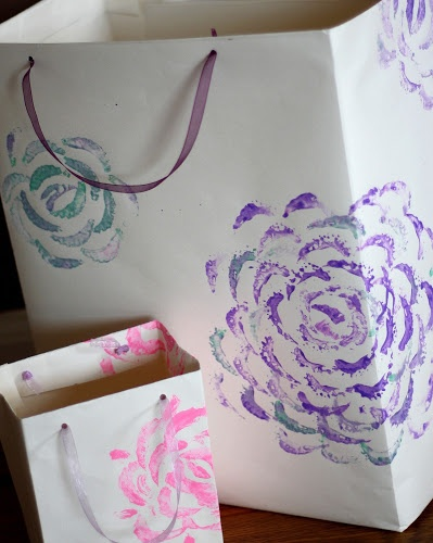 homemade gift bags with easy hand painted flowers | The Semi-Frugal Life