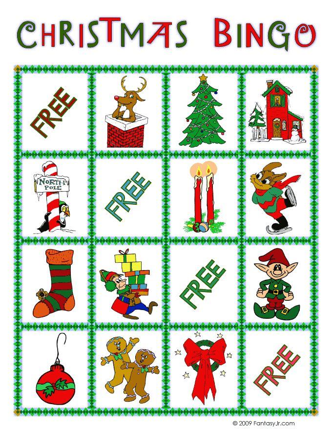 Fantasy Jr. | Christmas Bingo Card 1 perfect for the kindergarten xmas party