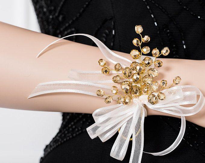 Ramillete de la muñeca de oro - impresionante ramillete de oro - Golden ramillete - ramillete de la novia - ramillete de Dama de honor - baile ramillete: Ramillete de flores