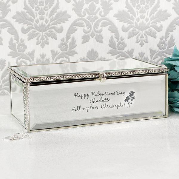 Personalised Flowers Mirrored Jewellery Box