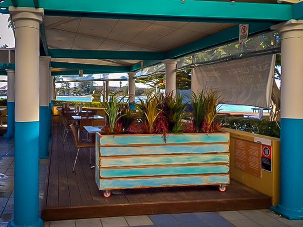 Wood Planters, Cafe Restaurant, House Remodeling, Patio Ideas, 12 Tables,  Bacchus, Entrance, Beach Houses, Dividers