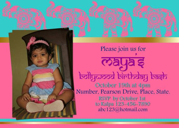 42 best Indian invitations images – Bollywood Birthday Card