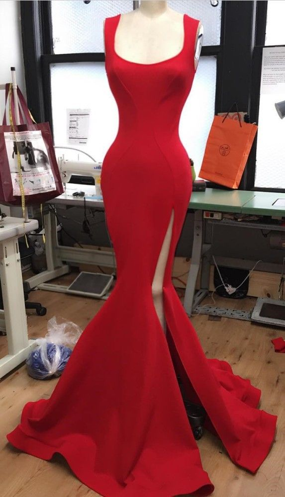 Mermaid Scoop High Split Floor-Length Red Satin Prom Dress,prom dresses 2017