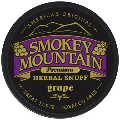 "Smokey Mountain Snuff, 5-1 oz Cans - Grape - Tobacco Free, Nicotine Free:   Is Smokey Mountain Safe? Smokey Mountain is considered a safe alternative to smokeless tobacco. Smokey Mountain follows FDA guidelines, and only uses FDA approved ""food grade"" ingredients. Smokey Mountain is manufactured in an inspected food grade manufacturing facility. What are the Ingredients? Smokey Mountain Snuff - Molasses, corn silk, water , glycerine, salt, flavor/oil (e.g., wintergreen), red clover, so..."