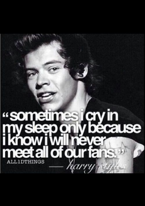 Sometimes we cry in our sleep because we know we'll never meet you. Aww Harry that's so sweet
