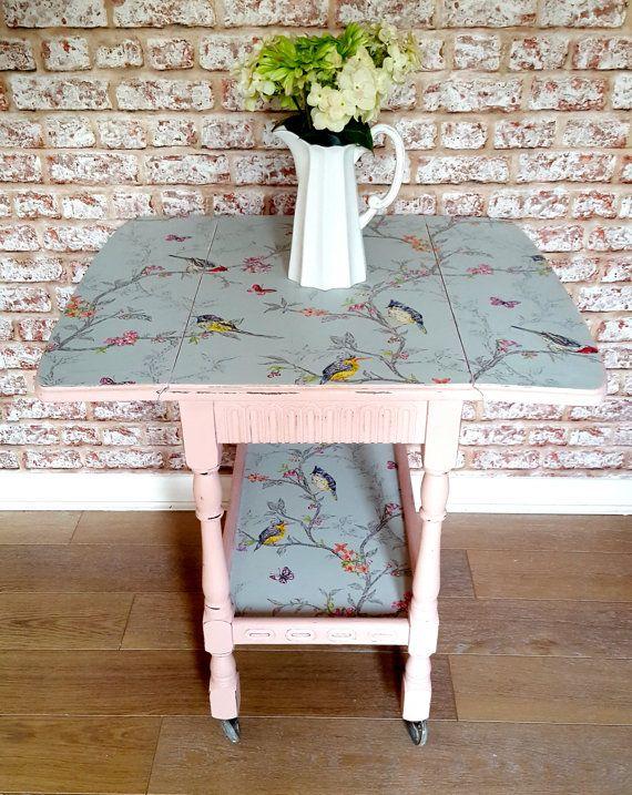 Vintage Side Table Hand Painted in the UK by elizabethjinteriors
