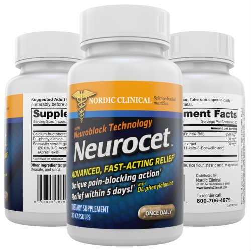 Neurocet is a nutritional supplement an effective anti-inflammatory pain relief agent that's perfect for treating conditions like lower back pain, neck aches, osteoarthritis, rheumatism, neuralgia, shingles, stiff joints, carpal tunnel syndrome, tendinitis, muscle and joint pain, fibromyalgia, and pinched nerves and sprains.