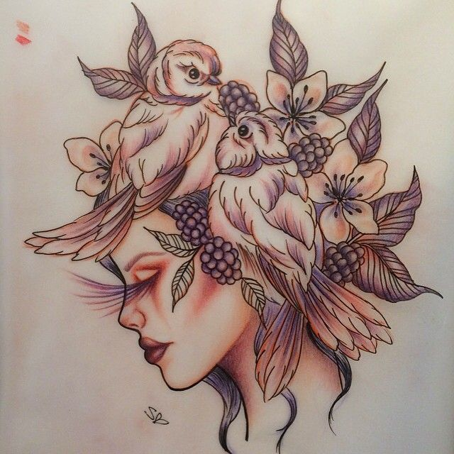 Design for the Saturday at #liverpooltattooconvention , so excited ! 💕 #tattooart #bluebird #bluebirdtattoo #floraltattoo #vintagetattoo #girlswithink #girlytattoo #birdtattoo #gypsyheadtattoo #tattooedgirls #sketch