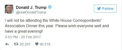 Trump Will Not Attend The White House Correspondents Dinner