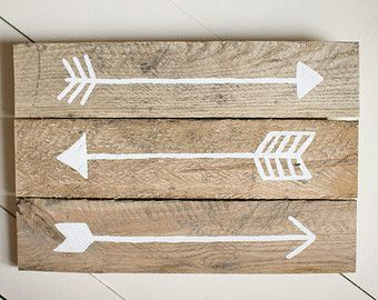 Reclaimed Wood Arrow Sign Salvaged Arrow on Wood by UpcycleCharm