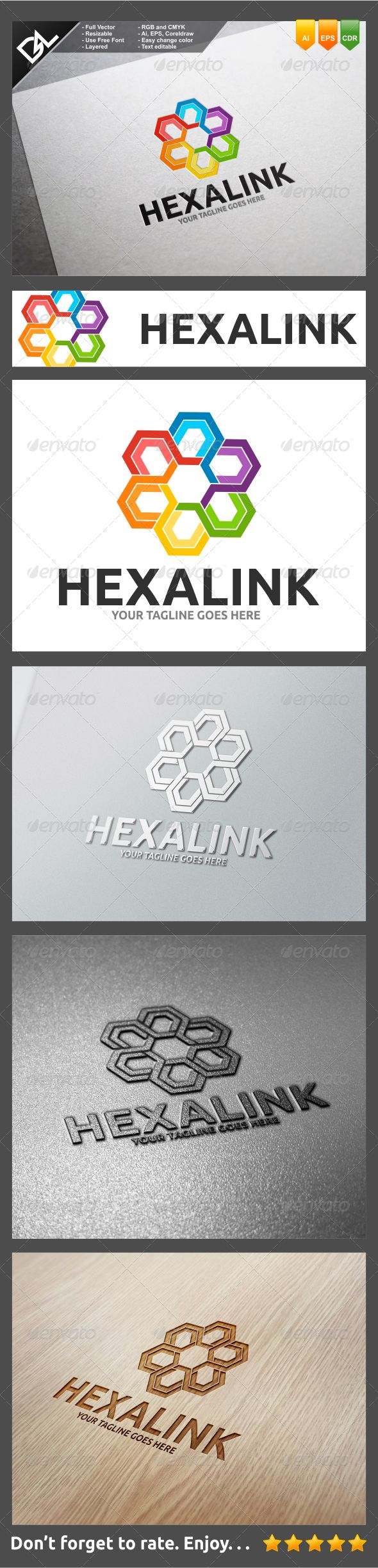 Hexalink Logo Template Easy to edit logo template with your own company name with vector for highly resizeable and printing.Featur