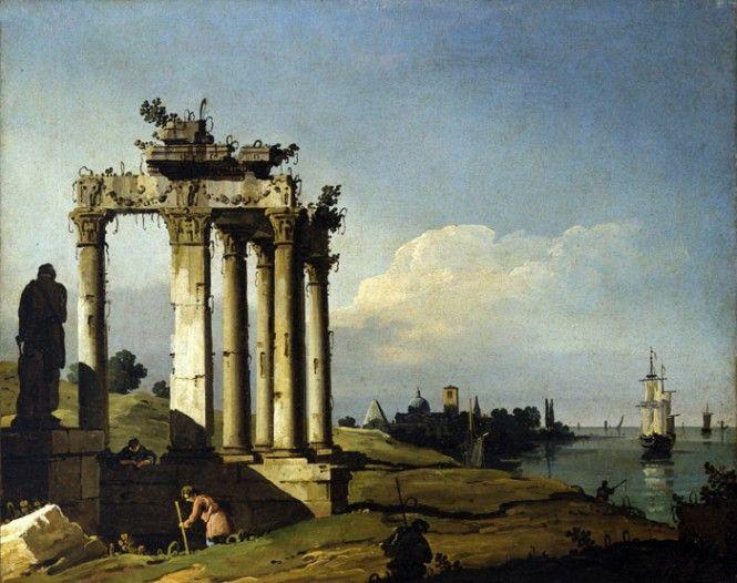 Bernardo Bellotto-Capriccio con rovine classiche e figure in riva alla laguna-1743- olio su tela- Museo civico di Asolo (Treviso)  rovine classiche-1743
