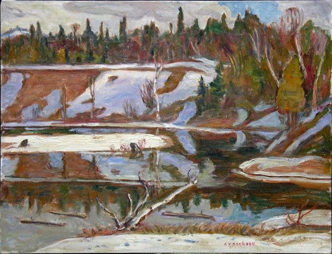 A.Y. Jackson - Petite Rivière des Nations Québec 25 x 33 Oil on canvas (1966)