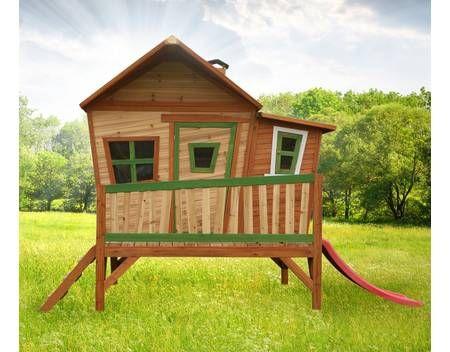 Spielhaus mit Rutsche und Veranda Holzspielhaus Spielhütte für Kinder Garten
