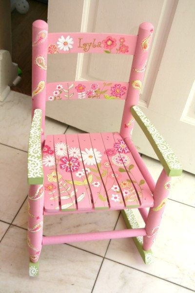 Custom Hand painted Child's Rocking chair with by coffeycreations