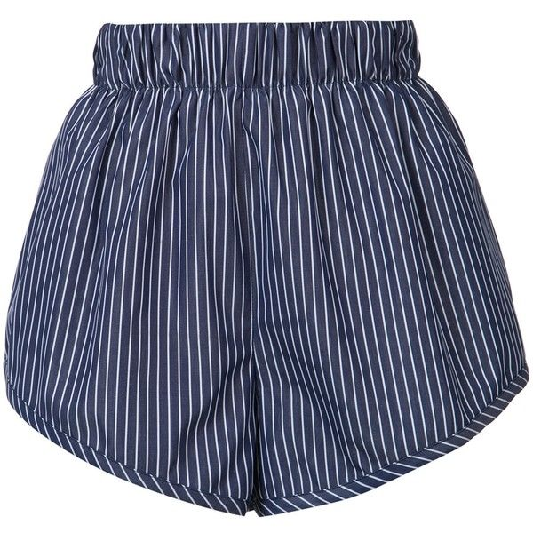 Stella McCartney Striped Cotton Shorts ($445) ❤ liked on Polyvore featuring shorts, kirna zabete, kzloves, stripe shop, short cotton shorts, stretch waist shorts, elastic waistband shorts, stripe shorts and short shorts
