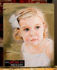 Tablouri pictate: Portret de fetita cu funda alba Pictura dupa fotografie exemple Pictura Portrete