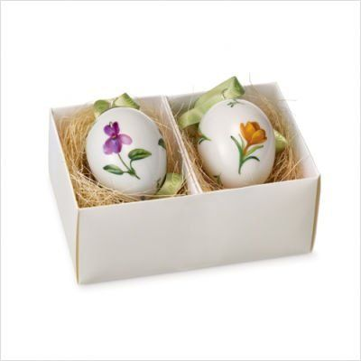 "Royal Copenhagen Easter Eggs (Crocus/Violet) - Set of 2 by Royal Copenhagen. $58.50. Gold colored accents. Light sage hanging ribbon. Each is 2.5"" tall. One Violet, and one Crocus color. Royal Copenhagen Decoration - 2 Piece Crocus / Violet"