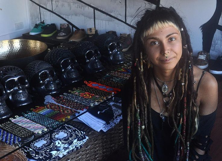 Queen Nahal kicking it at K Loco Byron Bay. Day of the dead black clay skull handcarved by indigenous tribes in Oaxaca, Mexico. Handpicked one off pieces.