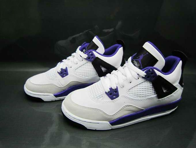 Air Jordan Retro 4 GS - White/Ultraviolet Black