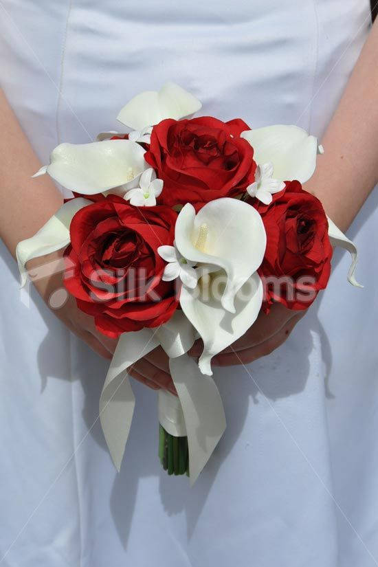 Romantic Artificial Red Rose, Ivory Calla Lily and Stephanotis Bridesmaid Bouquet #artificialflowers #silkflowers #silkwedding flowers #bridalbouquet #bridesmaidbouquet
