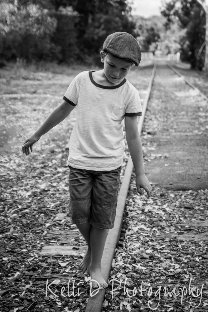 Adelaide Hills - Boy on train track - Kelli D Photography