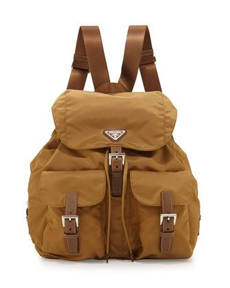 Nylon Large Two-Pocket Backpack, Tobacco  by Prada at Neiman Marcus.