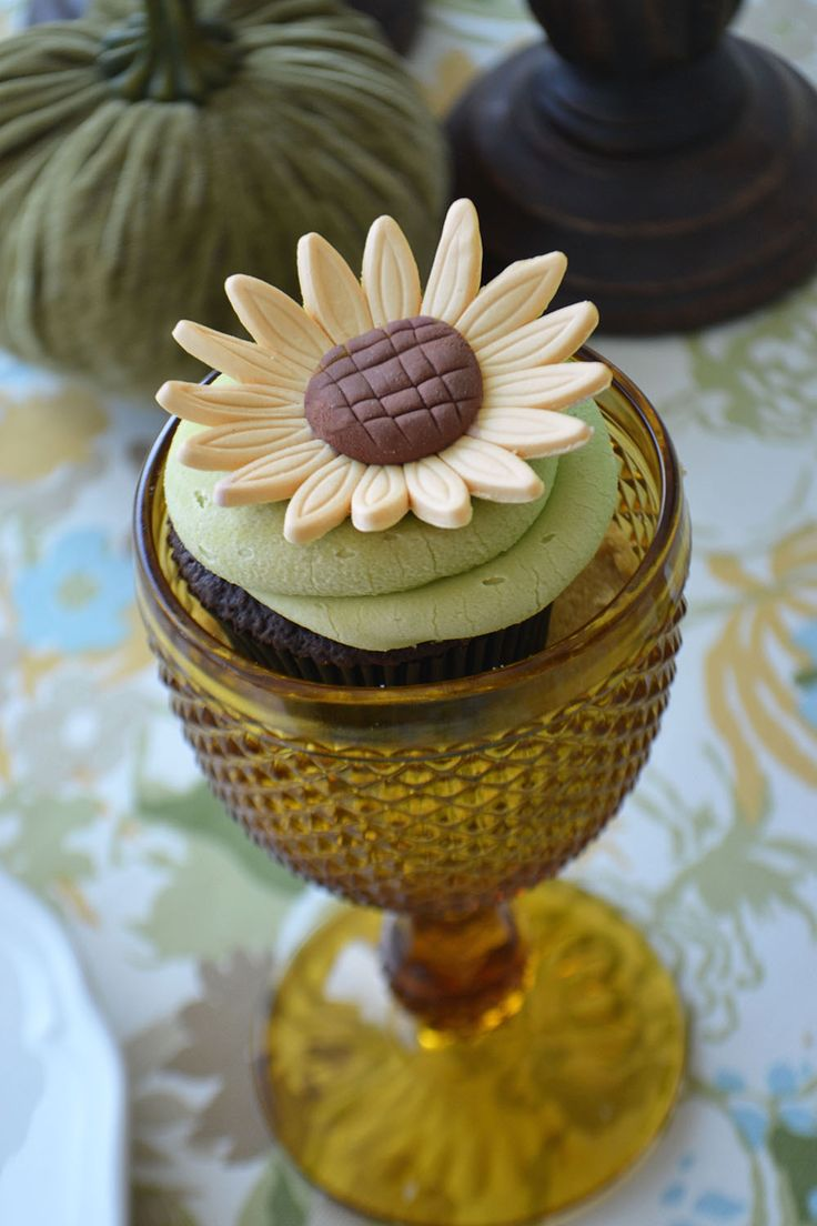 Sunflower Cupcakes in amber goblets. By Bake Sale Toronto.