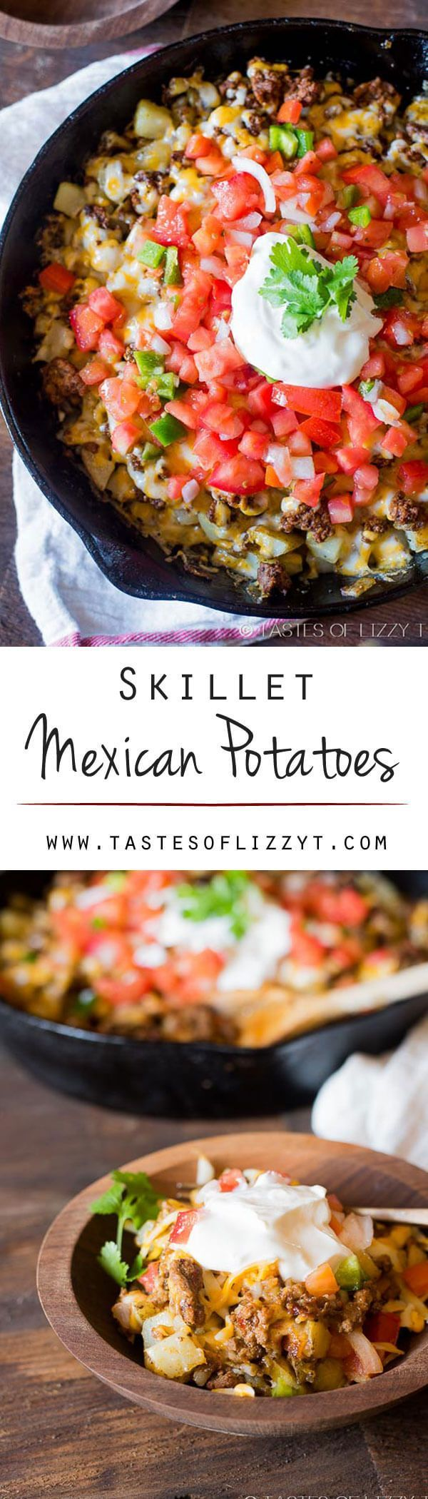 Top golden brown potatoes with your favorite taco ingredients for gluten-free skillet Mexican potatoes the family will love! Great for leftover tacos meat. Skillet Mexican Potatoes {Easy Gluten Free Dinner Recipe Idea with Beef} #potatoes #glutenfree #mex