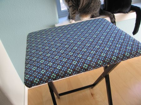 #DIY Ironing Board from a TV tray table -- great for keeping close to the #sewing machine for quick press needs!