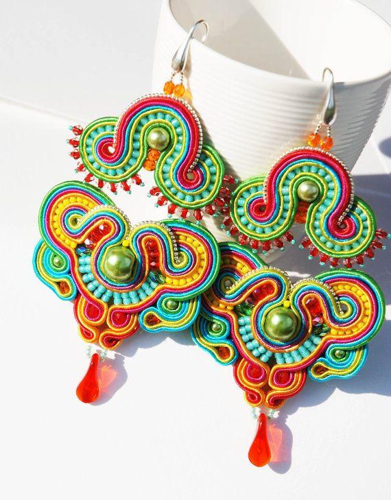Bellisimi orecchini soutache pendanti estive di momaart su Etsy