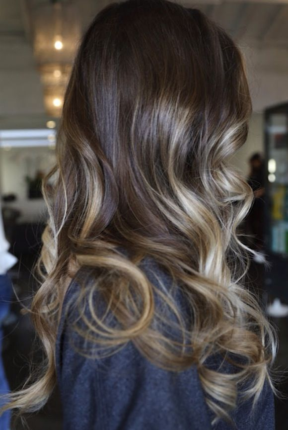 Ash brown hair with blonde high lights,