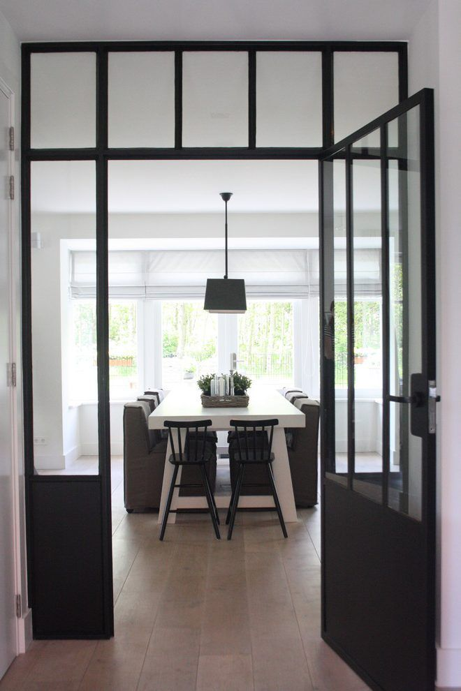 black steel entry contemporary with natural wood floors modern ...