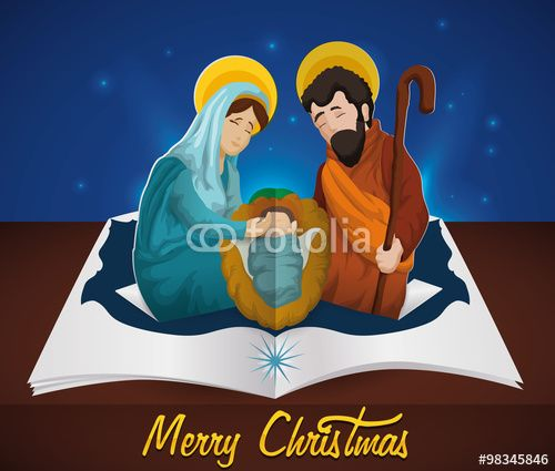 Beauty Nativity Scene in Pop-up Book with Starry Night Sky, Vector Illustration