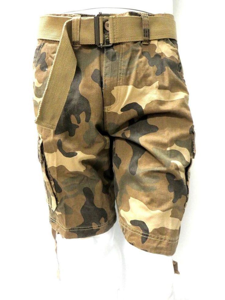 Burnside Men's camo shorts with side pocket on both Left and Right PLUS Belt #Burnside #Shorts