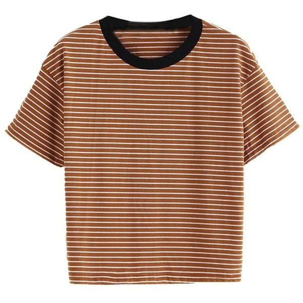 Orange Striped Ringer Tee ($15) ❤ liked on Polyvore featuring tops, t-shirts, striped top, brown t shirt, striped t shirt, orange t shirt and striped tee