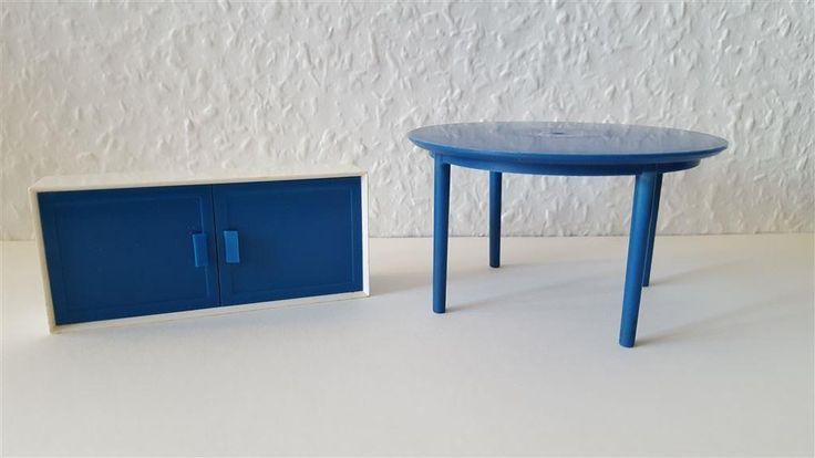 Brio bord och väggskåp matbord skåp Lundbyskalan blå plast 1960-tal