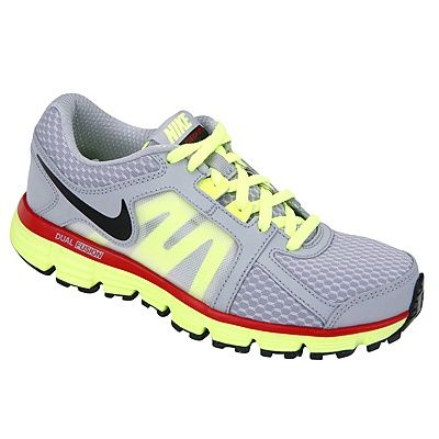 Boys' athletic shoes have a pop of neon color and are made for outdoor play