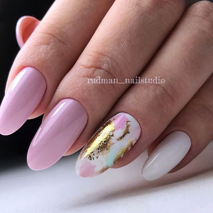 Pink-purple nailart,spring nails